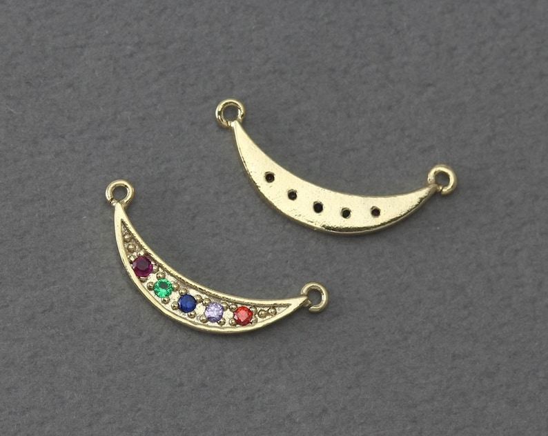 Bridal Jewelry FC396-PG-MS Crescent Brass Pendant Polished Gold Plated   2 Pcs Wedding Jewelry