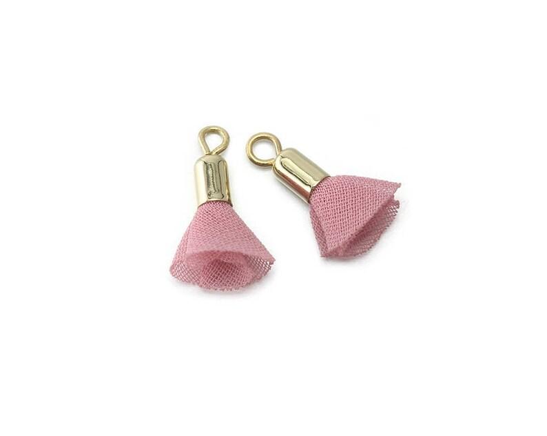 Pink Chiffon Tassel Mini Tassel Jewelry Craft Supply Polished Gold Plated over Brass Cap  4 Pcs GT027-PG-PK
