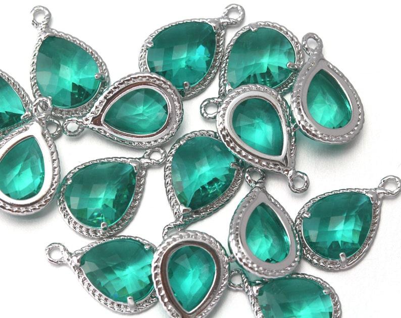 10/% OFF CG001-PR-HD Polished Original Rhodium Plated over Brass Wholesale Jewelry Supply Hiddenite Glass Pendant 10 Pieces