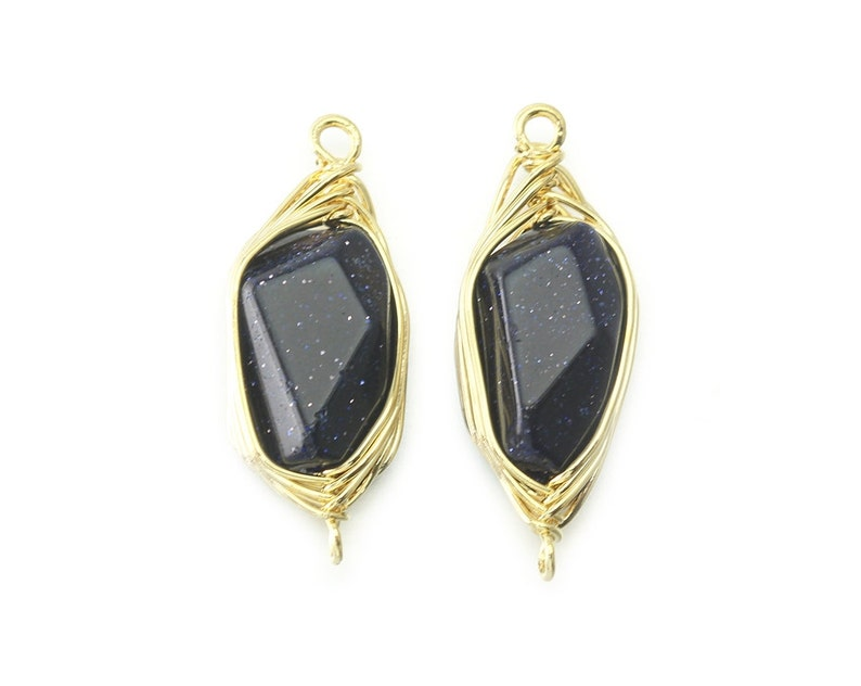 Blue Sand Gemstone Connector Polished Gold Plated over Brass   2 Pcs DG044-PG-BS Jewelry Craft Supplies