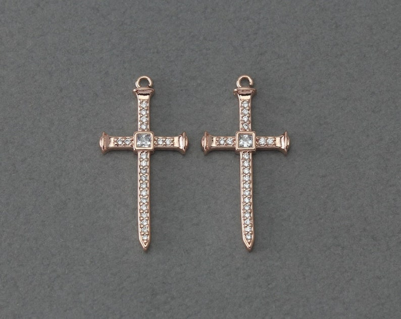 Bridal Jewelry Wedding Jewelry Polished Rose Gold Plated over Brass  1 Pcs BC255-RG-CR Cross Brass Pendant