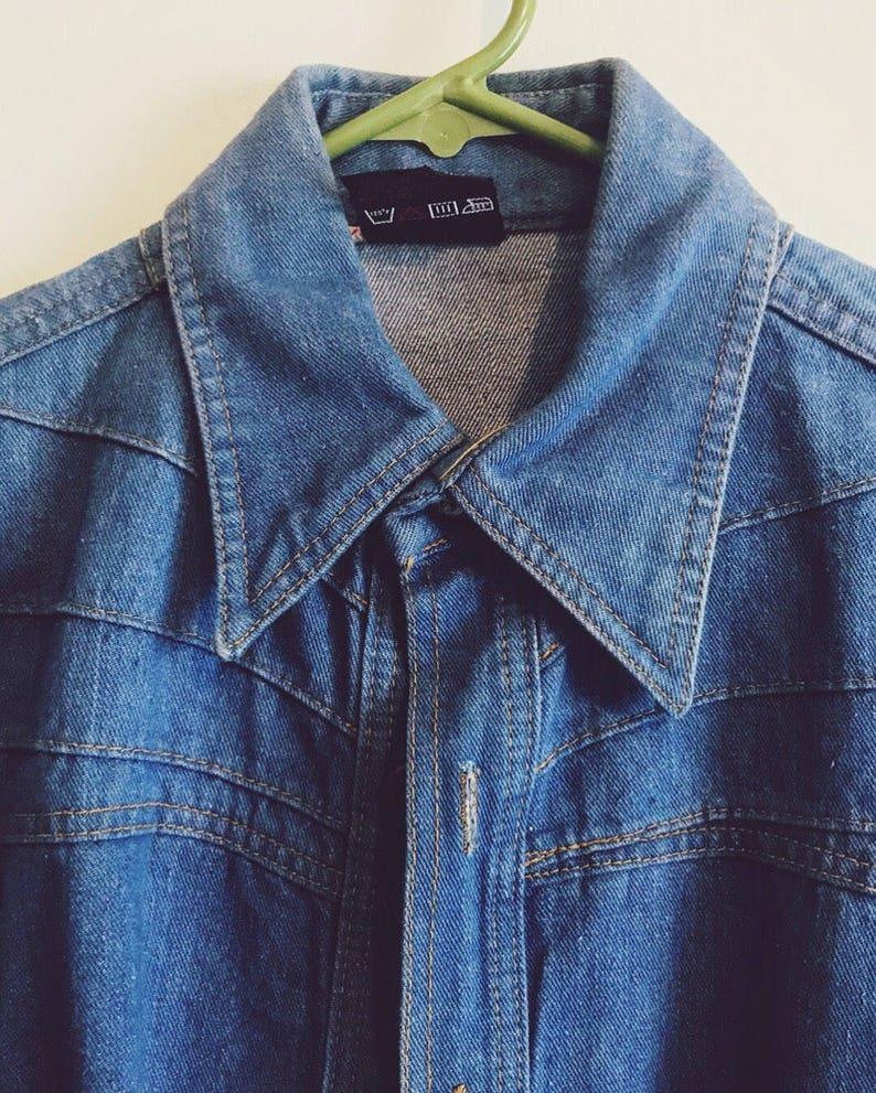 6751fc7e1b3 70s Vintage Britannia Denim Shirt   Jacket   UNISEX   Medium