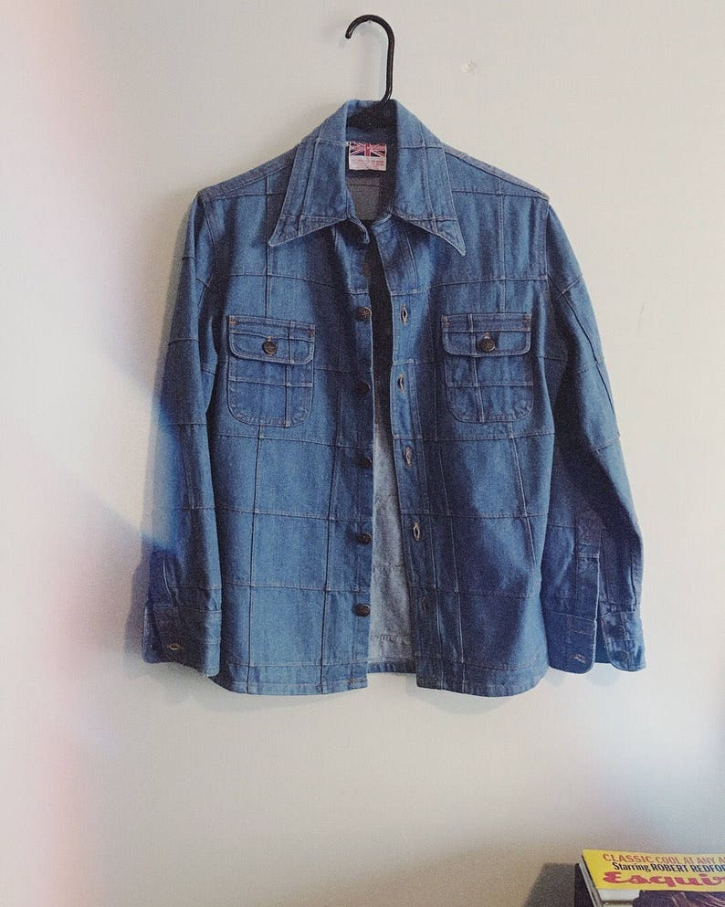 4b724f56dcb 70s Vintage Britannia Denim Shirt Jacket   UNISEX   Retro Gem