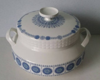 Vintage Ceramic Pottery Round Blue and White  Casserole With Lid Mid Century FREE SHIPPING