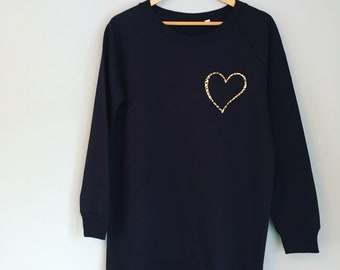 06690ce0e07f Slouchy black heart print leopard print sweatshirt, long length jumper, womens  jumper , customised sweatshirt, cosy sweatshirt