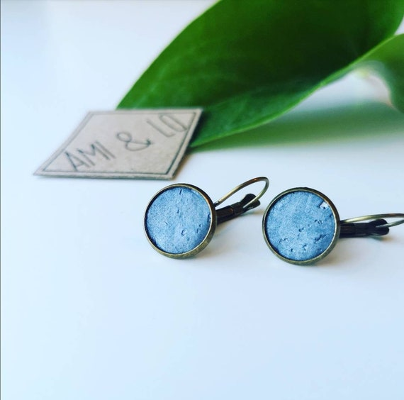 Cork leather drop stud earrings. Faux leather vegan friendly jewellery. Ethical sustainable gifts for her. Hypoallergenic earrings