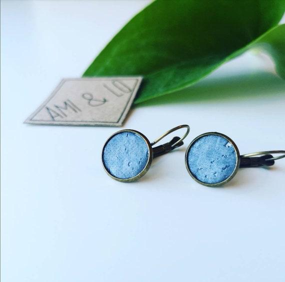 Cork leather drop stud earrings, vegan earrings, vegan gifts