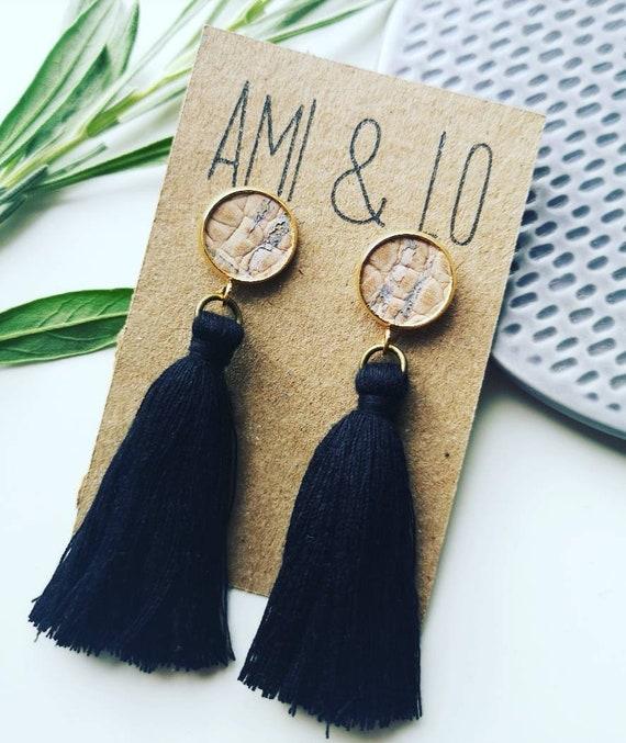 Stud tassel earrings, cork leather earrings, vegan earrings, statement earrings, vegan jewellery