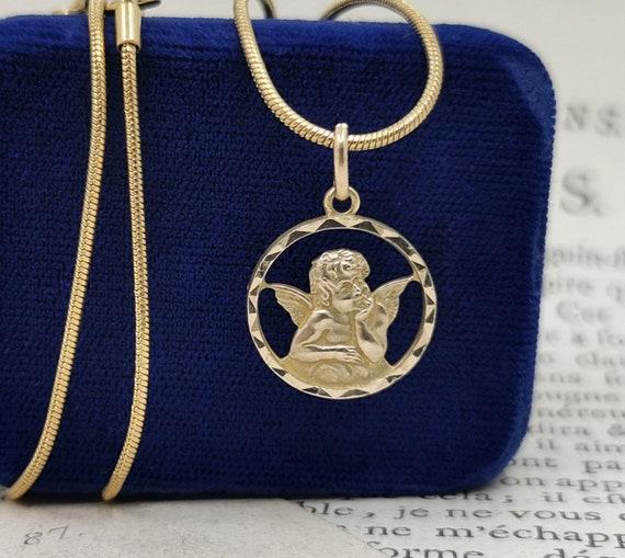 """17"""" Vintage Guardian Angel Medallion, Raphael Ange"""