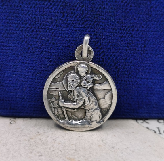 Vintage St Christopher Sterling Silver Catholic Religious Protection Pendant