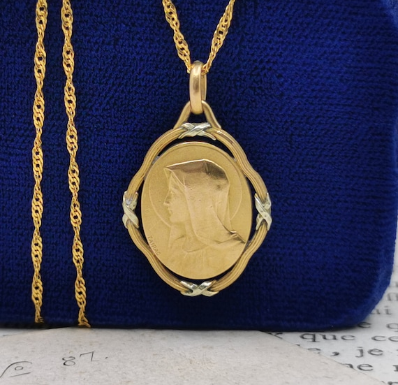 Antique French Virgin Mary Necklace, Gold Plated
