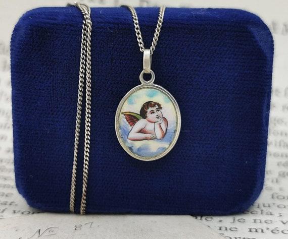 "German Angel Medallion, 15"" Guardian Angel Necklac"