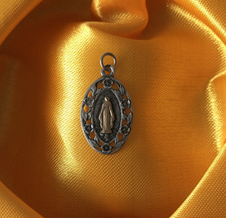 Silver Religious Medal Virgin Mary Pendant Mother Mary Silver Mary Medal
