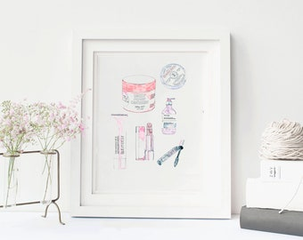 Printable wall art | beauty products | instant download