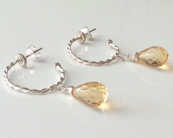 Hoop Citrine Earrings, Yellow Citrine, Briolette Earrings, Twisted Wire Hoops, November Birthstone, Timeless, Wrapped Briolette, Glamorous