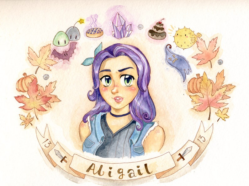 Stardew Valley Abigail Watercolor Garland Bust Painting