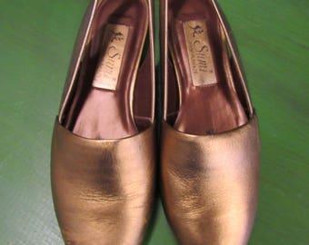 8ff31d86e7c7 Vintage Gold Leather Sumi Shoes Size 7.5 M