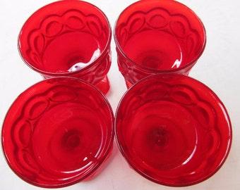 Vintage Spotlight Red Noritake Sherbet or Champagne Glasses Set of 4