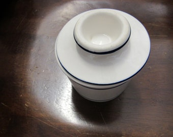 Vintage White and Blue Ceramic Butter Dish