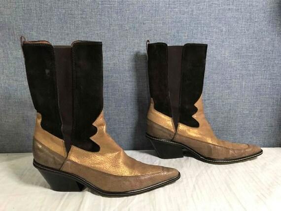 Vintage Donald J Pliner Western Ankle Boots Women'