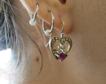 Vintage Ruby and Silver Earrings