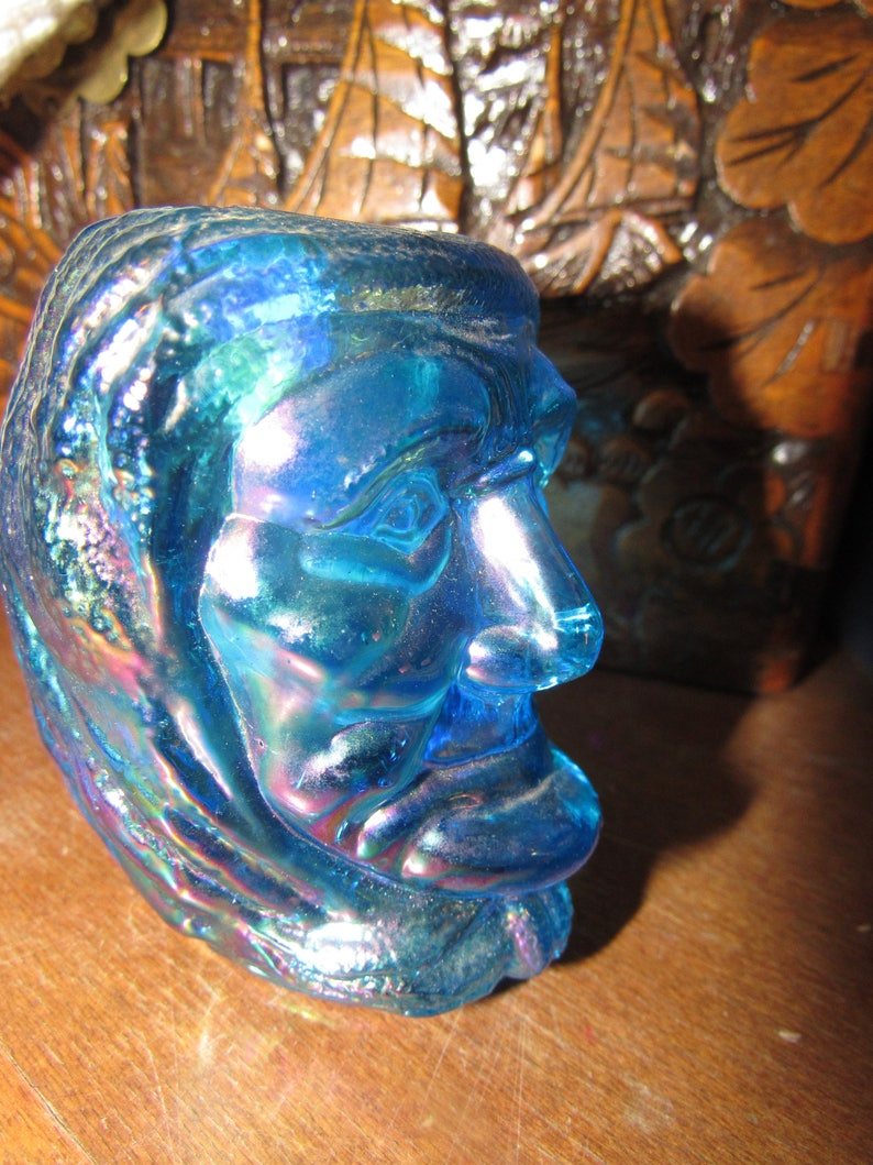 Blue Carnival Glass Indian Head Joe St Clair Toothpick Holder