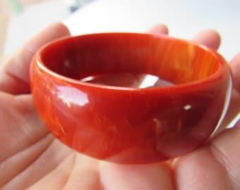 Vintage Orange Marbled Wide BAKEITE Bangle Tested