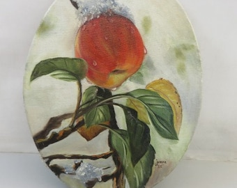 Vintage Apple Oil Painting Signed