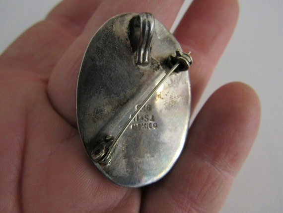 Vintage Mexican Slider Pendant Sterling Silver Black Resin Modern Necklace Finding Oxidized Gunmetal Patina