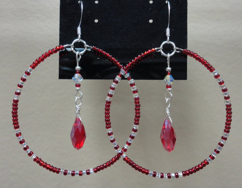 Ruby Red Crystal Sparkly Beaded Silver Dangle Hoop Hook Earrings Native American Made Round 2 inch Pierced Ear Jewelry Hypoallergenic Gift