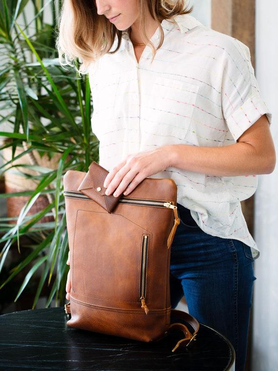 Leather Daypack, City Backpack in Wild Honey Kodiak