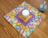 Easter Quilted Centerpiece, Extra Large Candle Mat, Easter Eggs, Purple + Yellow Mini Quilt, Hostess Gift, Gift for Mom, Quiltsy Handmade