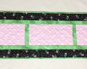 Spring Quilted Table Runner, Pink + Green Hearts + Tulips, Wedding Gift, Mother's Day, Bright Quilt Decor, Hostess Gift, Quiltsy Handmade