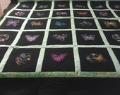 King Quilt, Large Queen Bed Topper, Embroidered Butterflies + Flowers on Black, Reversible, Gift for Mom, Wedding Gift, Quiltsy Handmade