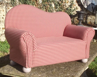 SOFA Chair fabric child style red taupe gingham