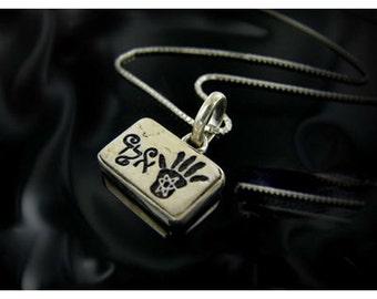 "Silver  necklace  with engraved Jerusalem stone inset  "" One of 72 names of God"" .Hamsa amulet."