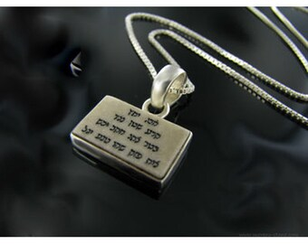 Amulet Porte bonheur Kabbalah Prayer pendant, Jerusalem stone Hebrew engraved necklace .