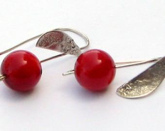 Red Coral silver earrings Israeli designer jewelry made in Israel.