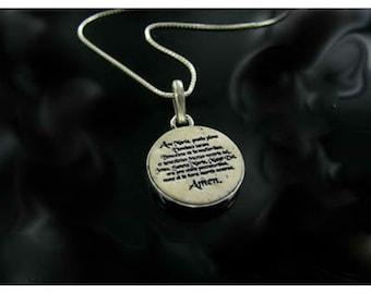 "Silver Jerusalem stone inset necklace  pendant ""Ave Maria"", Amulet ."