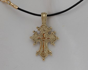 Small cross necklace,Solid gold baby cross necklace,Children cross,Gold cross pendant.