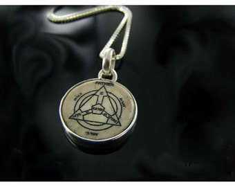 """Jerusalem stone round inset  pendant with christian faith symbol engraved """"Shield of the Trinity"""".Silver necklace."""