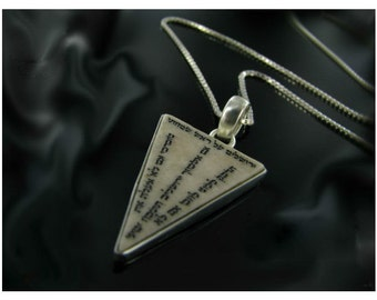 Pendant necklace,Sterling silver charm,necklace for men and women,with psalm engraving on Jerusalem stone inset.