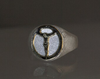 Signet silver ring with gold 14K Crucifixion, Ring for man or women, christian ring, Jeshua ring, Yeshua signet.