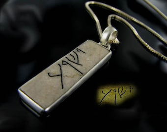 Silver JESUS IESHUA pendant engraved  Christian  necklace made of Jerusalem stone, Christian gift amulet made in Israel.