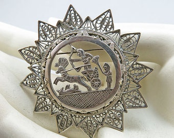 Art Deco Silver Pendant Brooch Filigree Jewelry Egyptian Revival Jewelry 1903s Jewelry Vintage jewellery