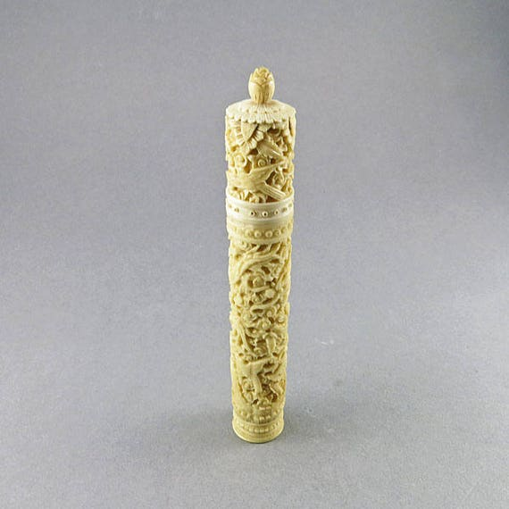 Antique Needle Case Chinese Carved Bone Case With Sewing Etsy