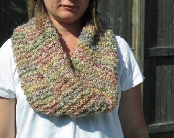 Cowl Knit Mobius--Warm, fluffy cowl--mobius in neutral tones--infinity scarf--mobius with twist--light & lofty mobius cowl--neutral scarf