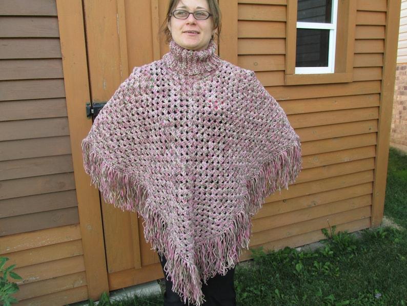 Ladies Crocheted Poncho; Crocheted Poncho with Turtleneck; Fringed Poncho; Fall Poncho; Fashion Poncho; Ladies CapePoncho