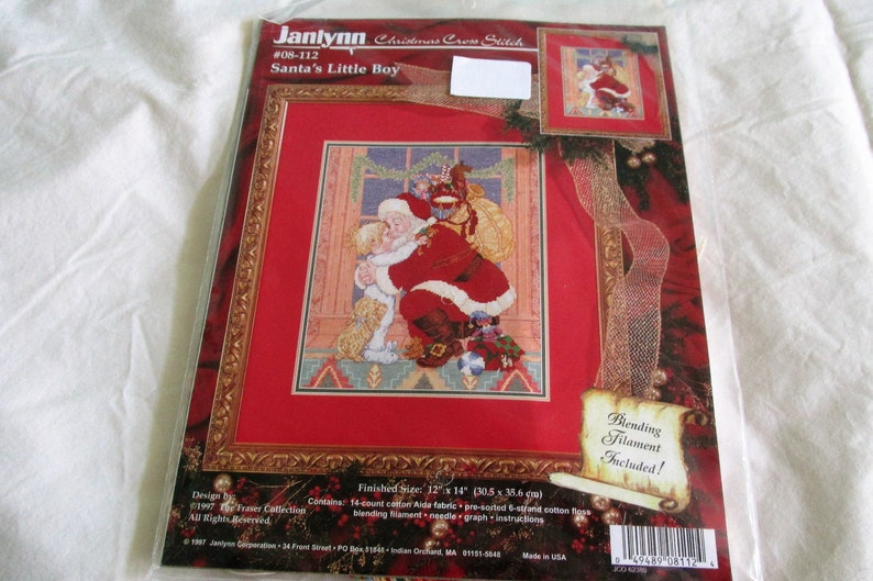 Christmas Cross Stitch picture; Christmas Counted Cross Stitch kit; Santa themed cross stitch kit