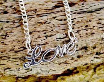 silver love necklace  silver plated chain 18 in
